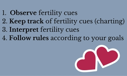 1. Observe fertility cues2. Keep track of fertility cues (charting)3. Interpret fertility cues